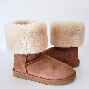 UGG Tall Fold Over Suede Shearling Boots Size 8